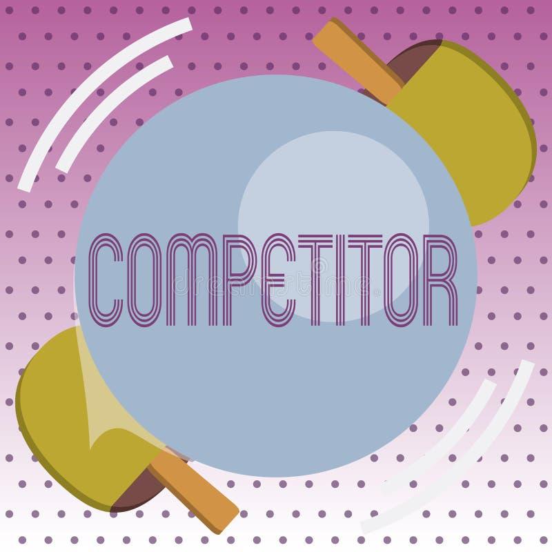 Concorrente do texto da escrita Pessoa do significado do conceito que participa na competição ostentando do anúncio publicitário  ilustração do vetor