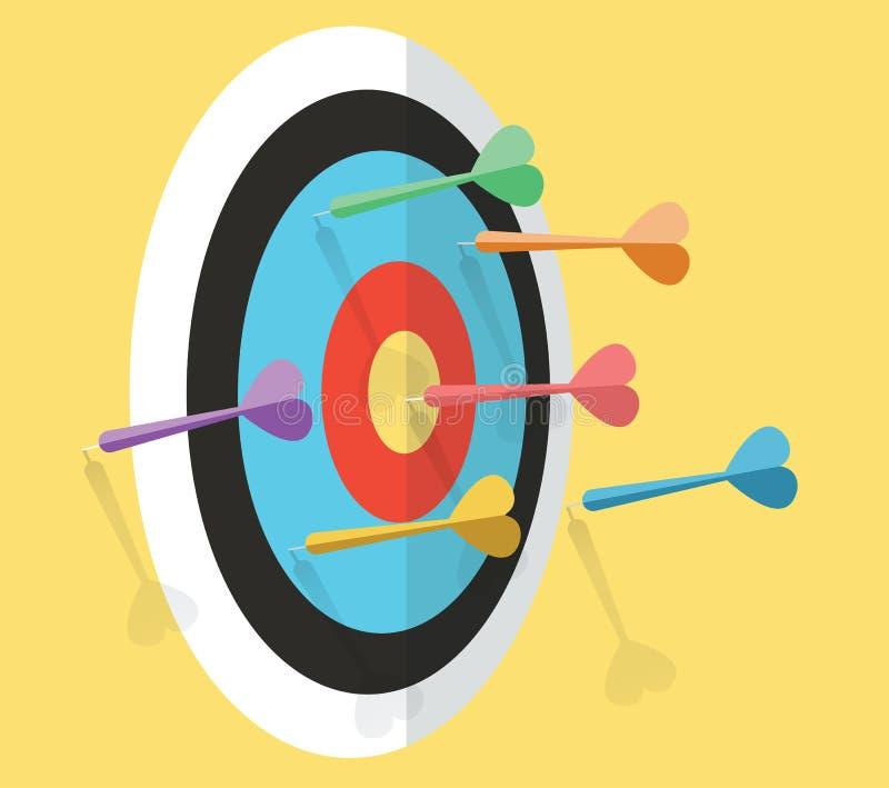 Concorrenza dei dardi Concetto della competizione sportiva e di affari illustrazione vettoriale