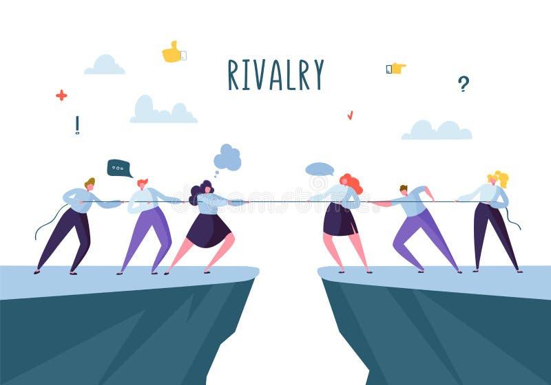 Concorrenza di affari, concetto di rivalità Gente di affari piana dei caratteri della corda di trazione Conflitto corporativo illustrazione di stock