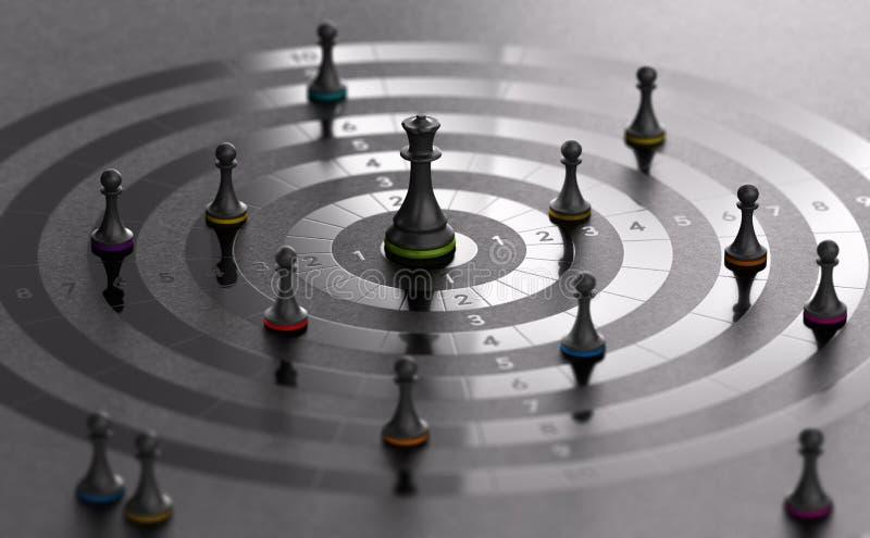 Concorrenza di affari, direzione o concetto di conquista di strategia illustrazione vettoriale