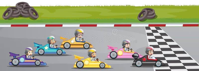 Concorrenza di corsa di automobile illustrazione di stock