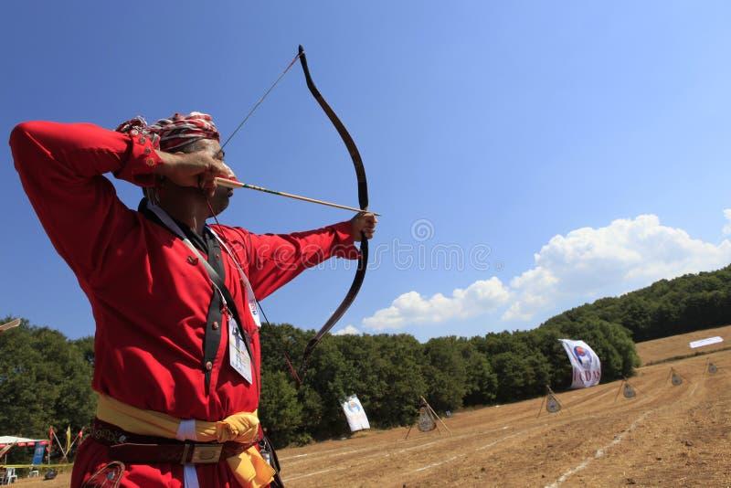 Concorrenza di tiro con l'arco in Turchia fotografia stock libera da diritti