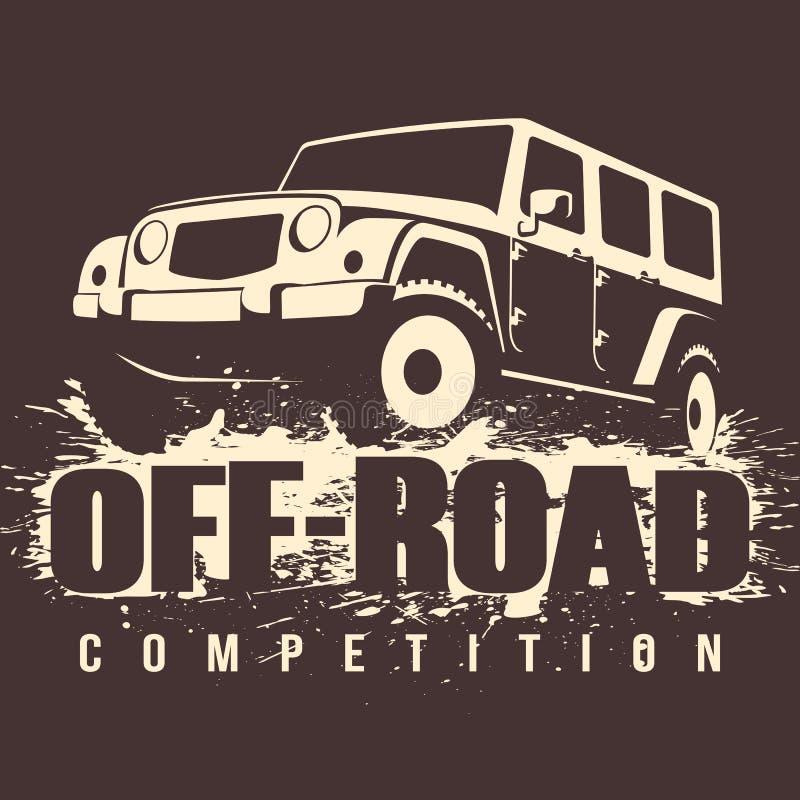 Concorrenza fuori strada dell'automobile 4x4 illustrazione vettoriale