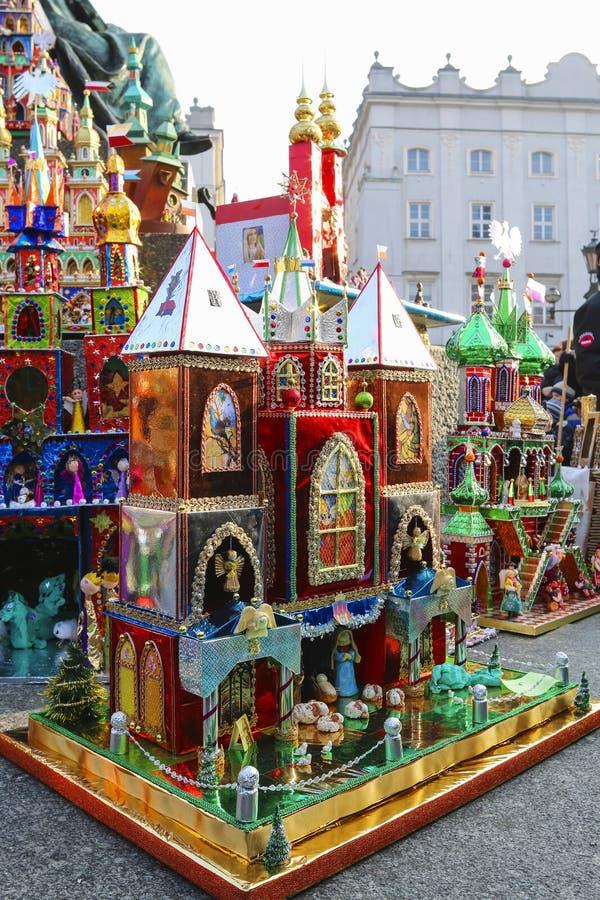 Concours annuel de scènes de nativité, Cracovie, Pologne images stock