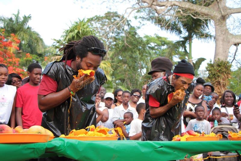 Concours de consommation de mangue des Îles Vierges photographie stock libre de droits