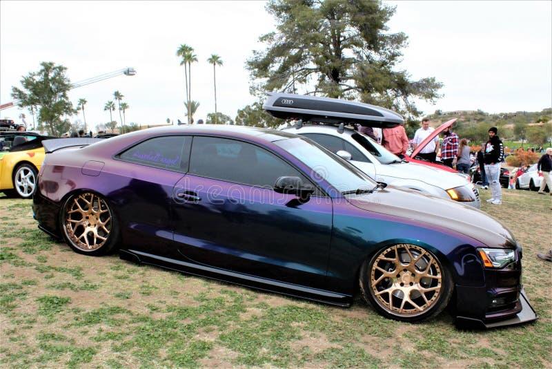 Concours in de Heuvels, het Car Show van 2019, 9 Februari, 2019, bij Fonteinpark, Fonteinheuvels, Arizona, Verenigde Staten stock fotografie