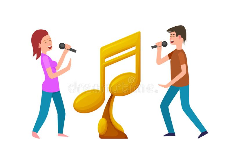 Concours de musique, récompense d'or et concurrents avec la MIC illustration de vecteur