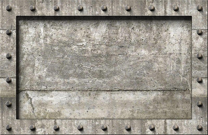 Concrete background. Textured concrete frame with nails background royalty free illustration