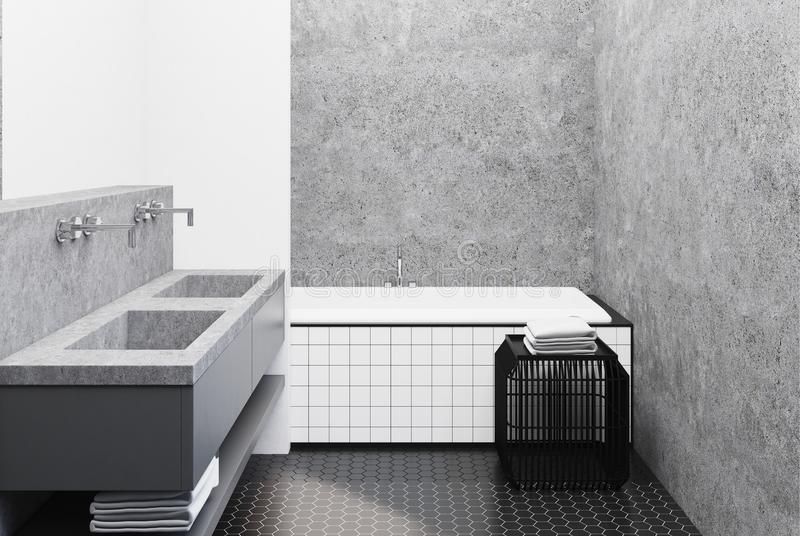 Concrete badkamers, betegelde ton en gootsteen vector illustratie