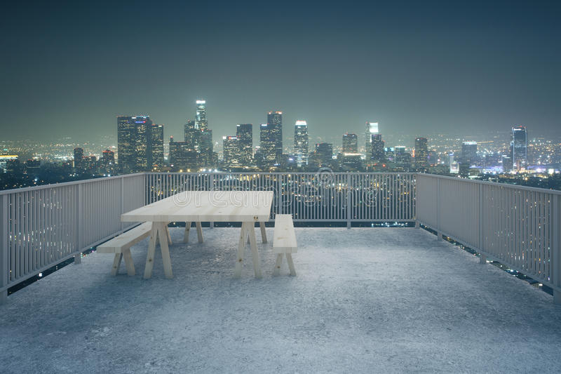 Concrete balcony night city view stock illustration for Balcony night view