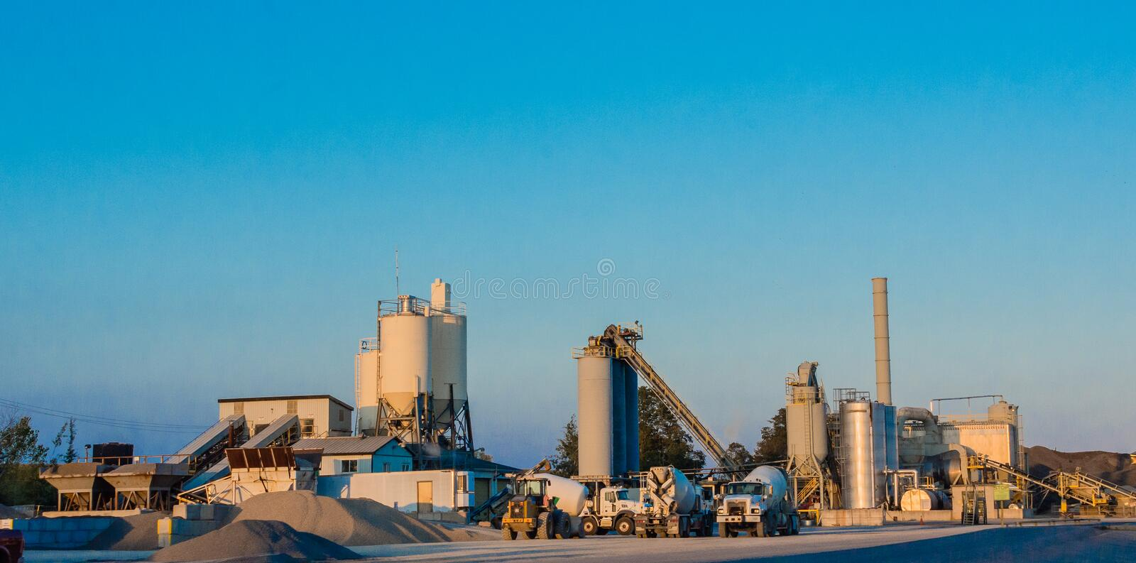 Concrete Batch Plant. A small factory for the manufacture of concrete for construction stock photo
