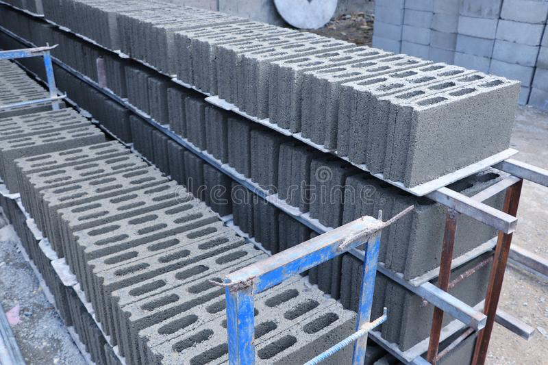 Concrete blocks stacking on the floor. Ready to be collected for construction work royalty free stock photos
