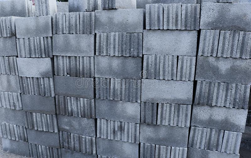 Concrete blocks stacking on the floor. Ready to be collected for construction work royalty free stock images