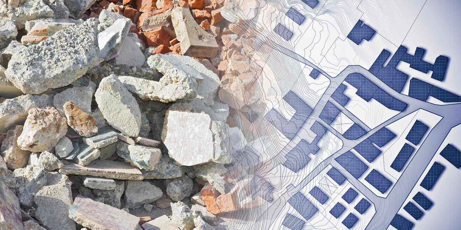 Concrete and brick rubble debris on construction site after a demolition of a brick building - concept image with a city map with. Buildings stock photo