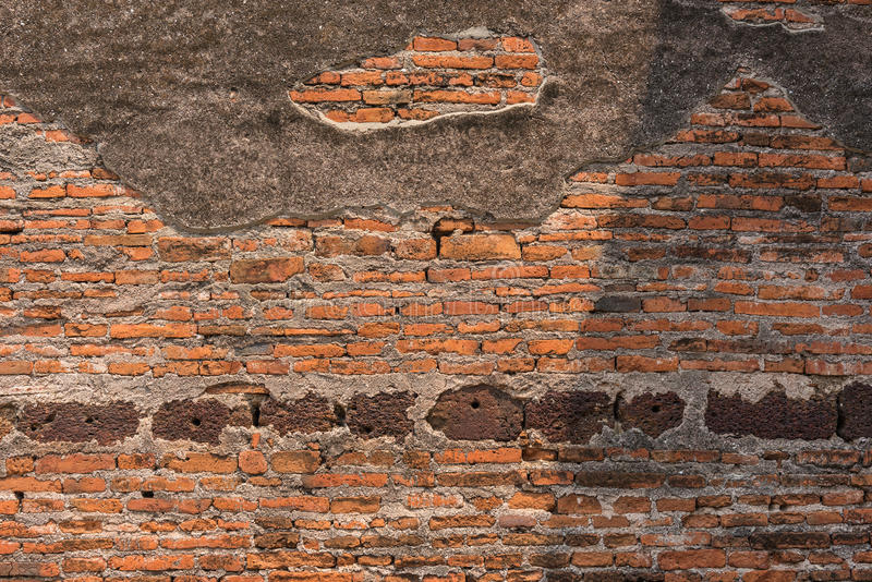 Concrete and brick wall of ancient remains. Concrete and brick wall of ancient remains in Thailand royalty free stock image