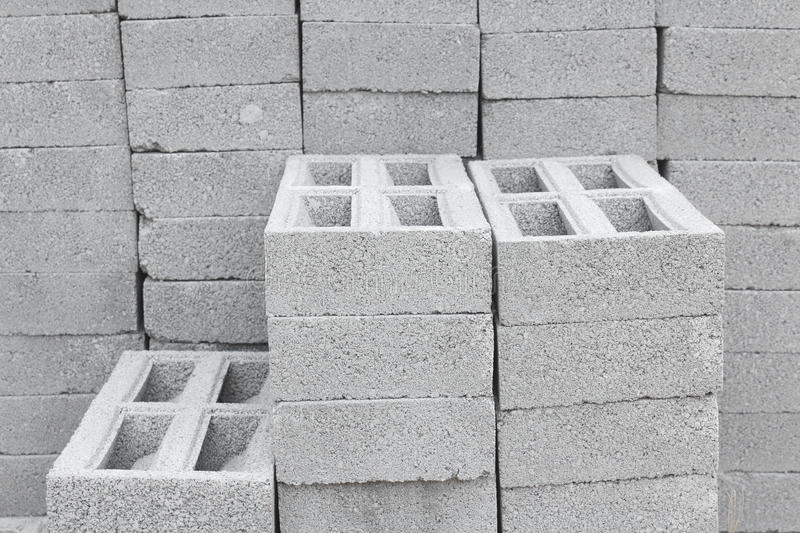 Concrete Bricks. Stack of concrete bricks at warehouse in Thailand stock images