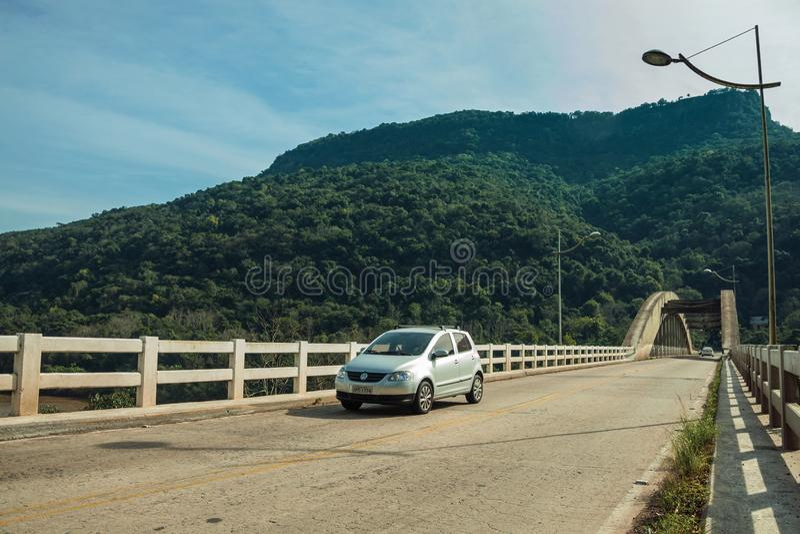 Concrete bridge on the Antas River with cars stock photos