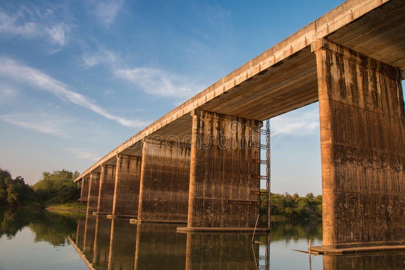 Concrete bridge over the river. royalty free stock images