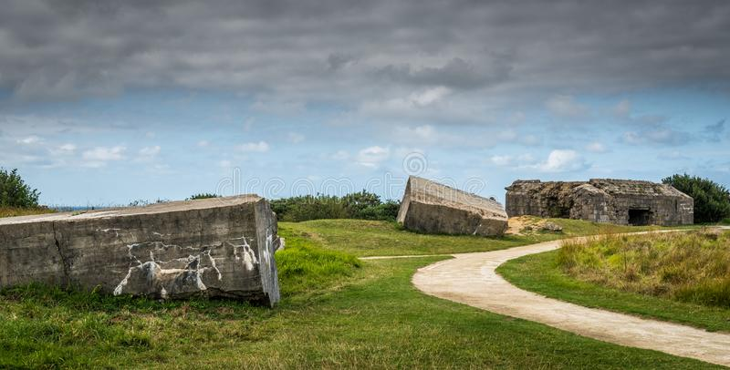 Concrete at Bunkers Ponte Du Hoc. Remains of the German concrete bunkers that were part of the Atlantic Wall in 1944 at Ponte du Hoc in Normandy stock images