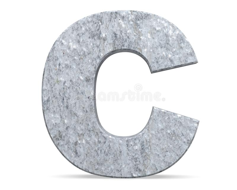 Concrete Capital Letter - C isolated on white background . 3D render Illustration. Concrete Capital Letter - C isolated on white background . 3D render royalty free illustration
