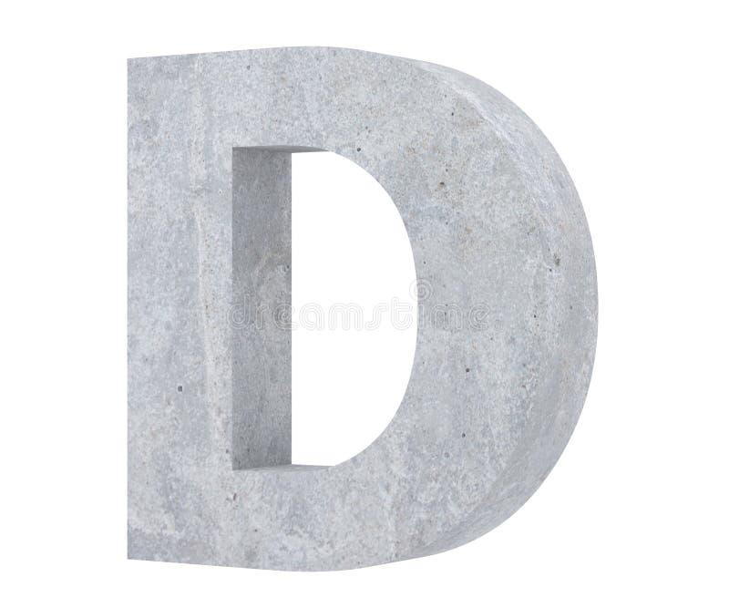 Concrete Capital Letter - D isolated on white background. 3D render Illustration. vector illustration