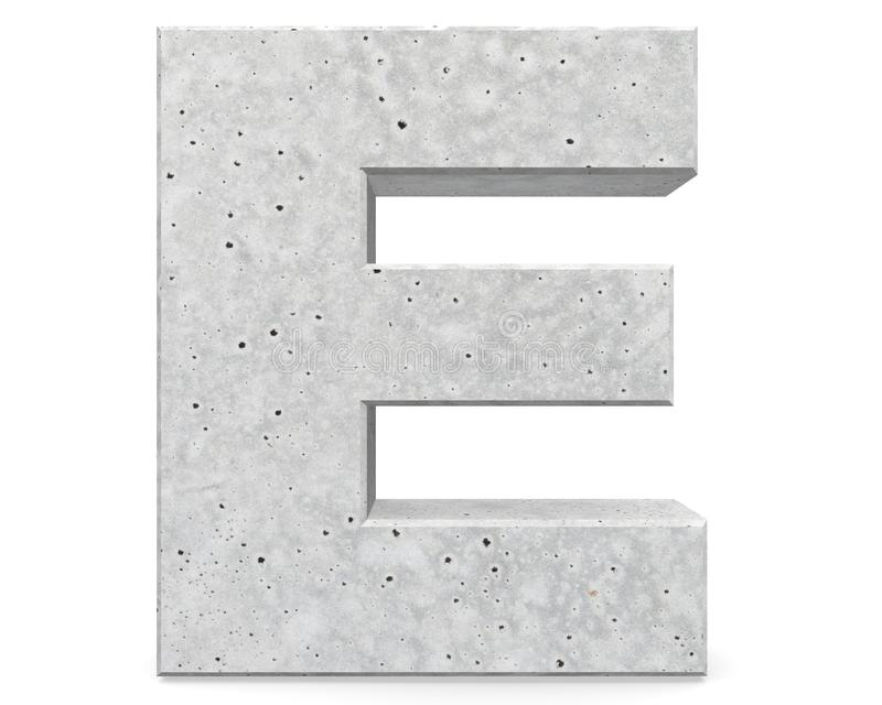 Concrete Capital Letter - E isolated on white background . 3D render Illustration. royalty free illustration