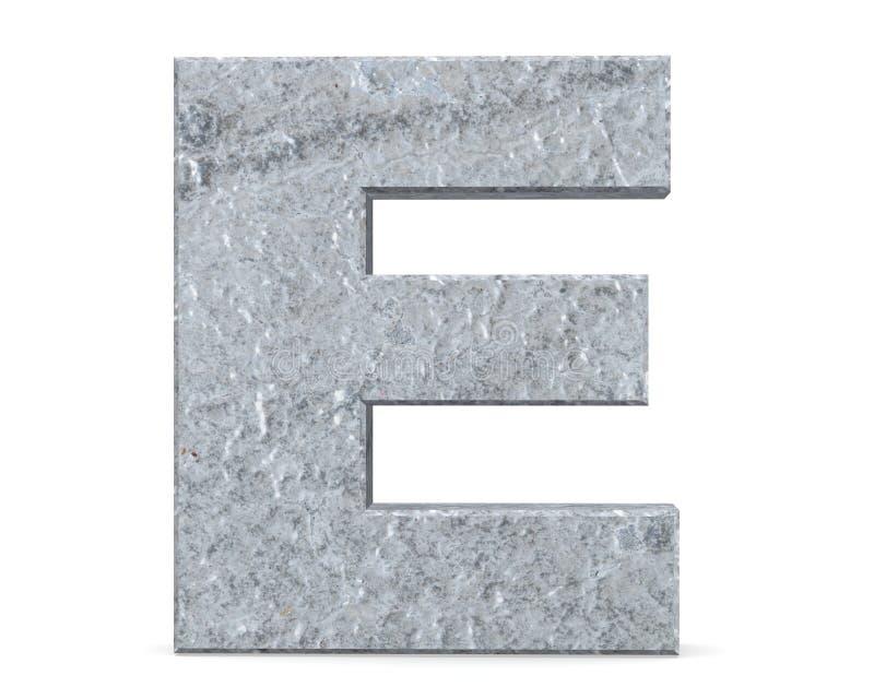 Concrete Capital Letter - E isolated on white background . 3D render Illustration. stock illustration