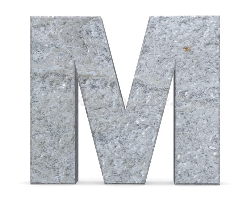 Concrete Capital Letter - M isolated on white background . 3D render Illustration. royalty free illustration