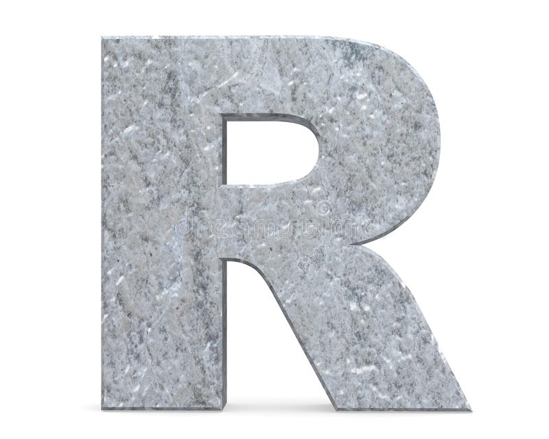 Concrete Capital Letter - R isolated on white background . 3D render Illustration. Concrete Capital Letter - R isolated on white background . 3D render vector illustration