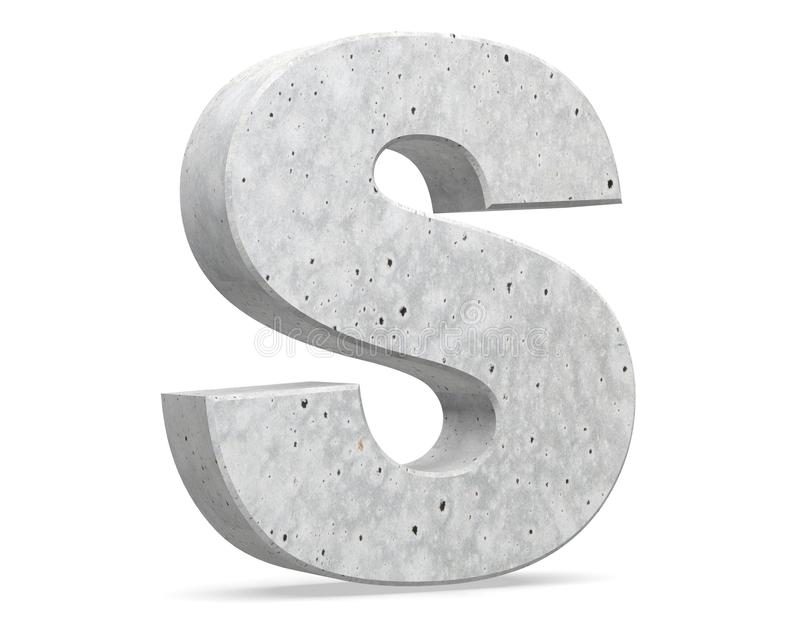 Concrete Capital Letter - S isolated on white background . 3D render Illustration. royalty free illustration