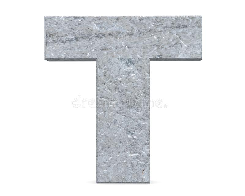 Concrete Capital Letter - T isolated on white background . 3D render Illustration. royalty free illustration