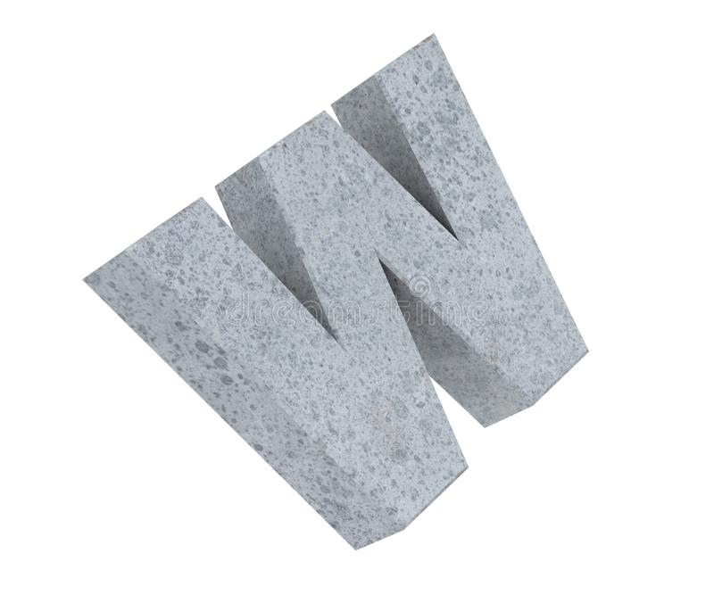 Concrete Capital Letter - W isolated on white background. 3D render Illustration. stock image