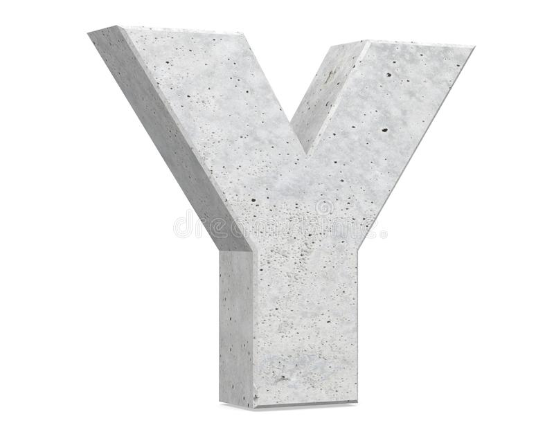 Concrete Capital Letter - Y isolated on white background . 3D render Illustration. royalty free illustration
