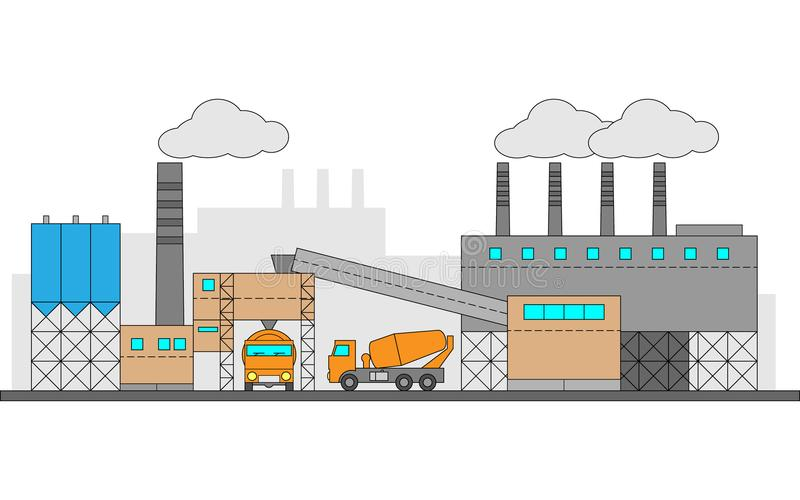 Concrete, cement factory. Industrial illustration with two machines. Editable. royalty free illustration