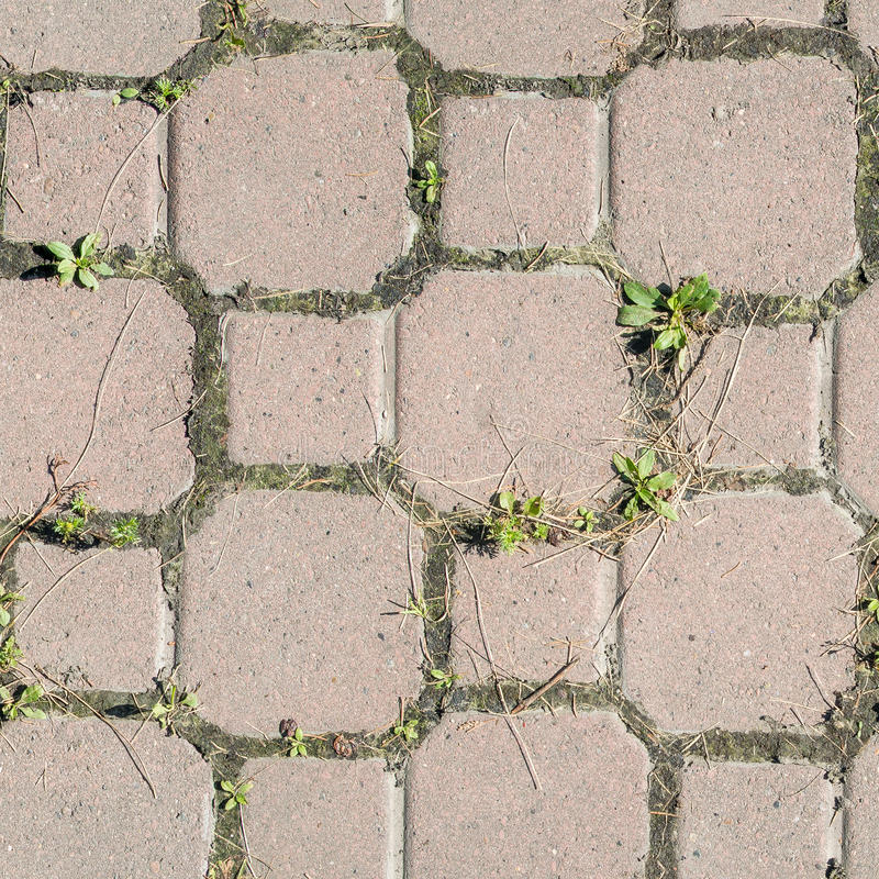 Concrete or cobble gray pavement slabs or stones for floor, wall or path. Traditional fence, court, backyard or road paving. royalty free stock image