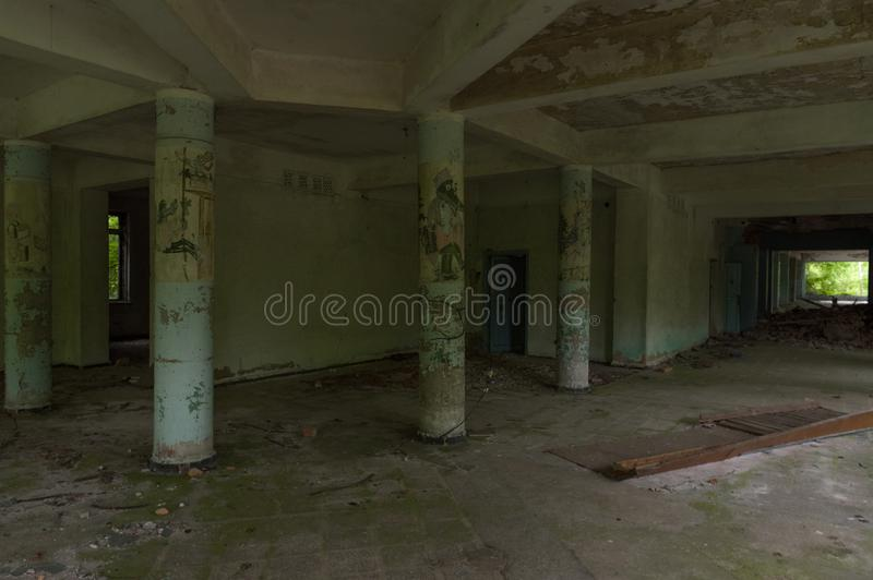 Concrete columns with drawings of children`s characters. Cartoon characters of the Soviet era royalty free stock photos