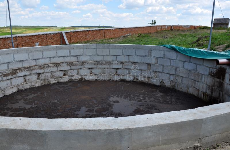 Concrete compost for manure on a farm stock photo