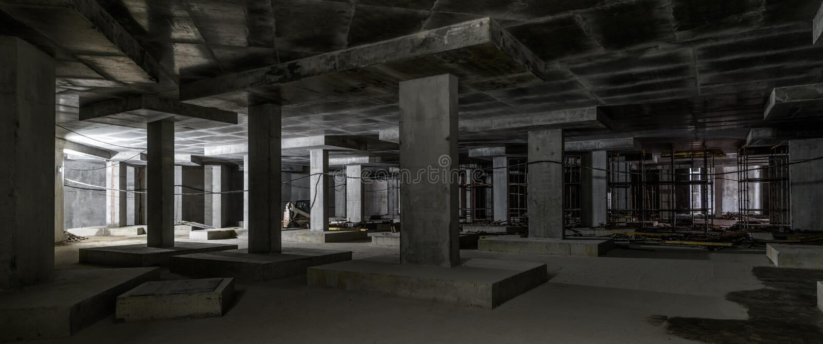 Concrete construction of basement of large building royalty free stock photos