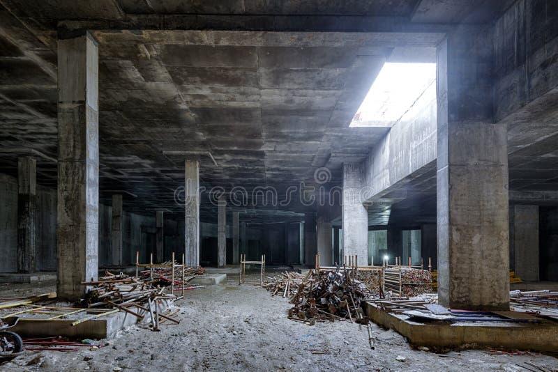 Concrete construction of basement of large building stock image
