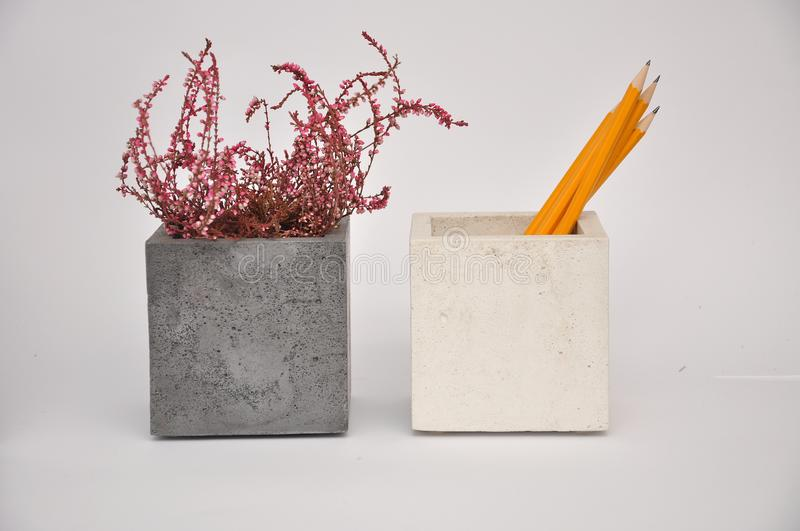 Concrete cubes planter white silver royalty free stock images