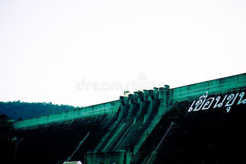 Concrete dam wall Kun Dan Pra Kan Chon Dam Nakonnayok Thailand royalty free stock images