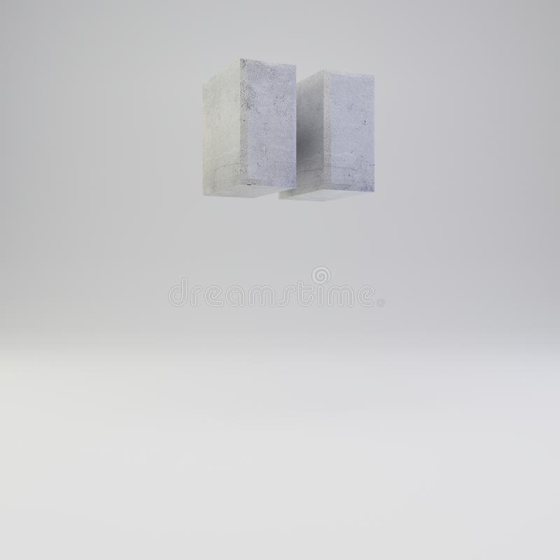 Concrete double quotes symbol with plaster texture  on white background. Concrete double quotes symbol. 3D rendered font with plaster texture  on white stock illustration