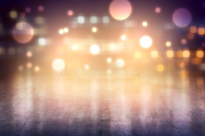 Concrete floor with blurry lights. Over bright background royalty free stock photo