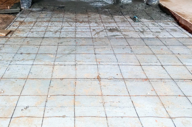 Concrete floor. In construction of the small factory royalty free stock photos