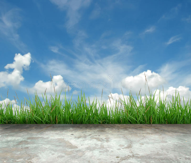 Concrete floor with green grass. And blue sky stock image