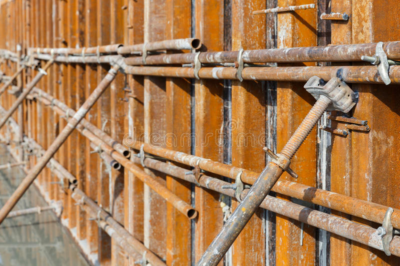 Concrete formwork plywood frame stock photos