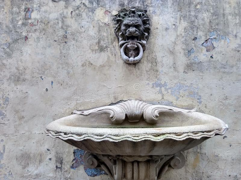 Concrete fountain. Classic style stock photo