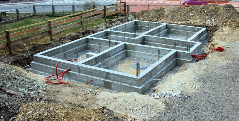 Concrete fundamental wall for the house. Working site, slovenia stock images