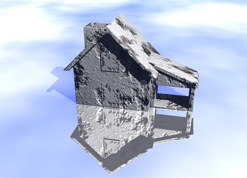 Concrete Grey Gray House. Model on Blue-Sky Background with Reflection Concept Poor or Damaged Home At Rish vector illustration