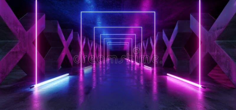 Concrete Grunge-Kolommen X Gestalte gegeven de Weg Purper Blauw van FI van Hall Reflective Neon Glowing Sci van de Gangtunnel Don stock illustratie